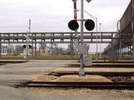 industrial railroad crossing warning